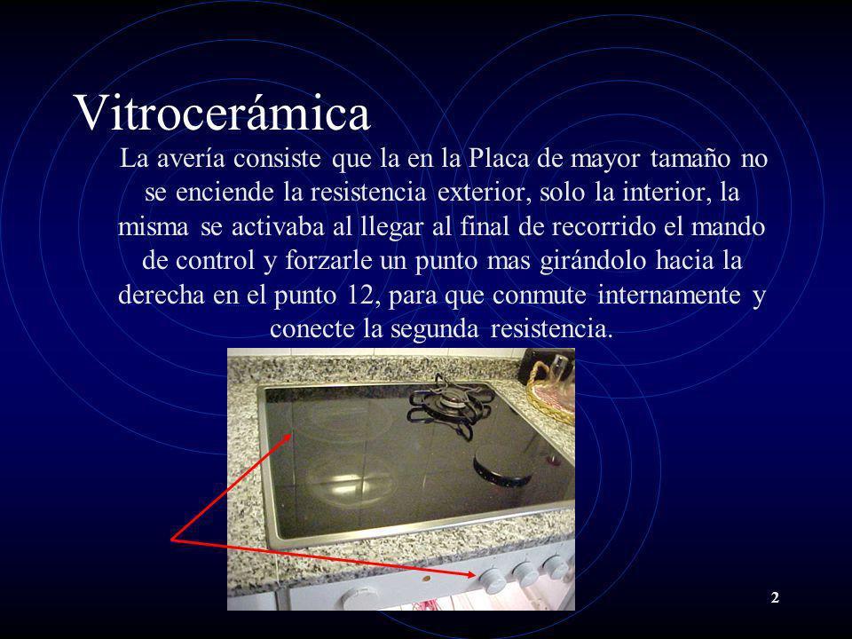 2 Vitrocerámica La avería consiste que la en la Placa de mayor tamaño no se enciende la resistencia exterior, solo la interior, la misma se activaba a