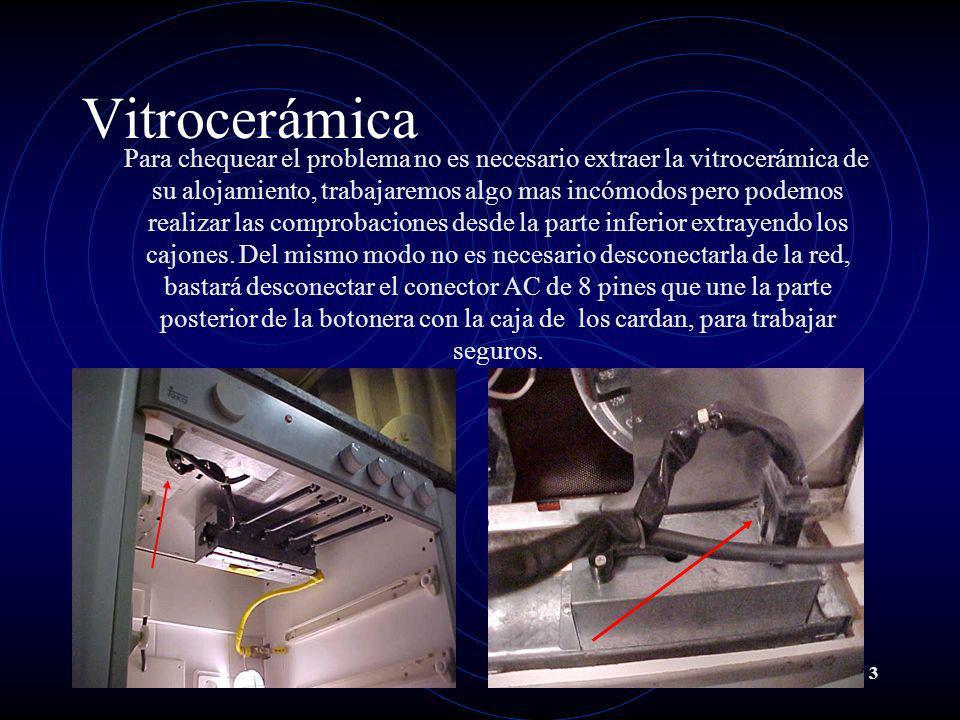 3 Vitrocerámica Para chequear el problema no es necesario extraer la vitrocerámica de su alojamiento, trabajaremos algo mas incómodos pero podemos rea