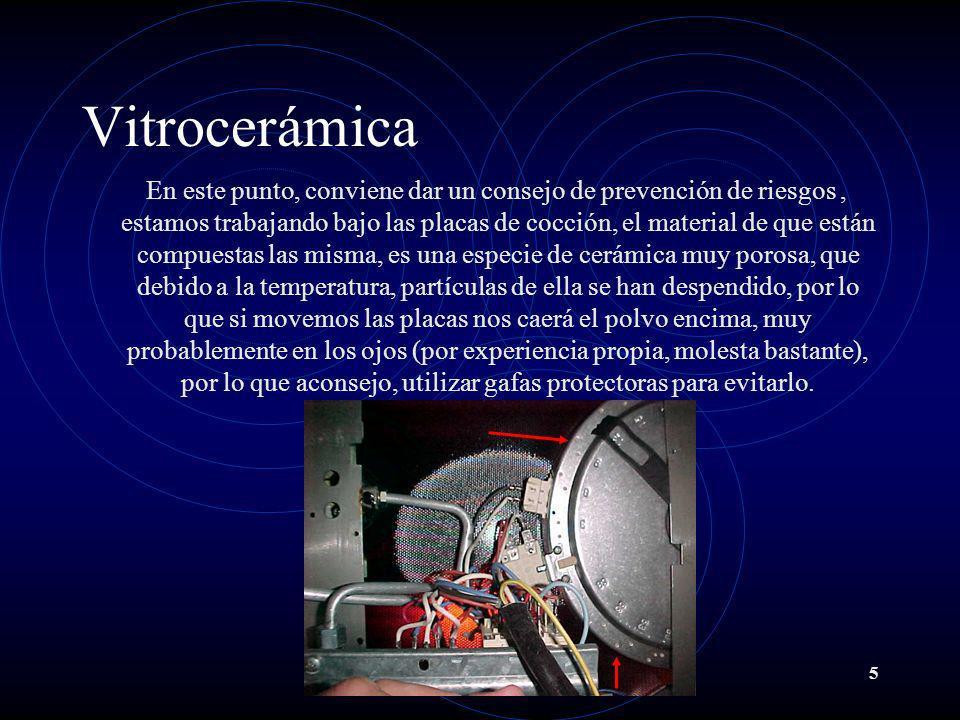 5 Vitrocerámica En este punto, conviene dar un consejo de prevención de riesgos, estamos trabajando bajo las placas de cocción, el material de que est
