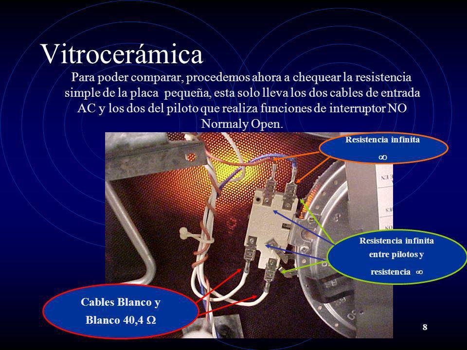 8 Vitrocerámica Para poder comparar, procedemos ahora a chequear la resistencia simple de la placa pequeña, esta solo lleva los dos cables de entrada