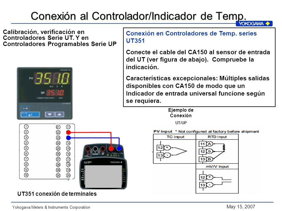 May 15, 2007 Yokogawa Meters & Instruments Corporation Conexión en Controladores de Temp. series UT351 Conecte el cable del CA150 al sensor de entrada