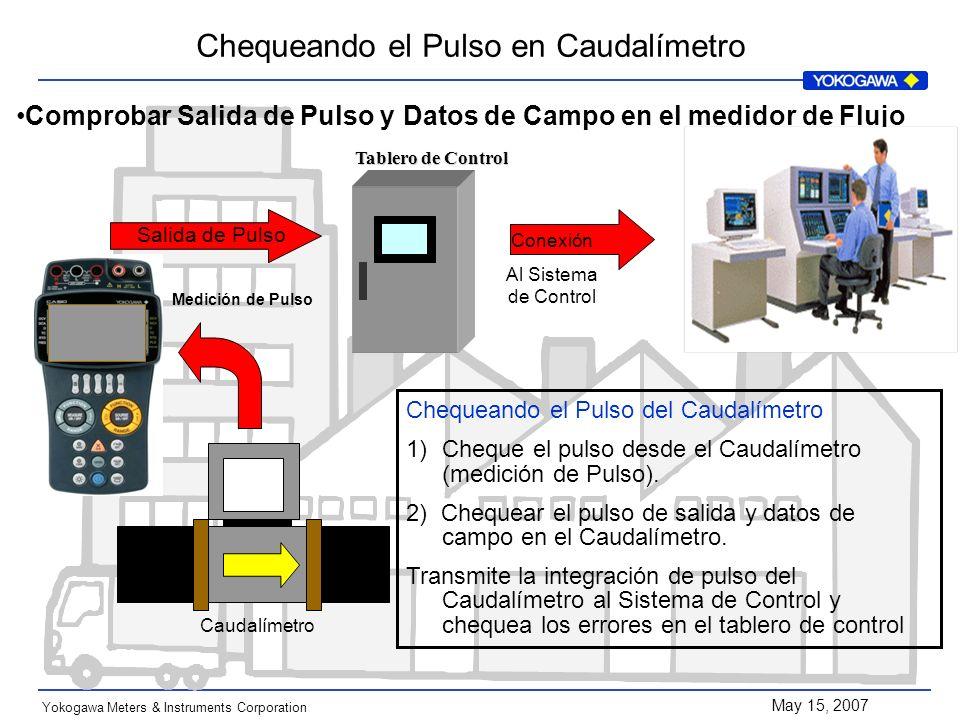 May 15, 2007 Yokogawa Meters & Instruments Corporation Caudalímetro Salida de Pulso Medición de Pulso Conexión Al Sistema de Control Chequeando el Pul