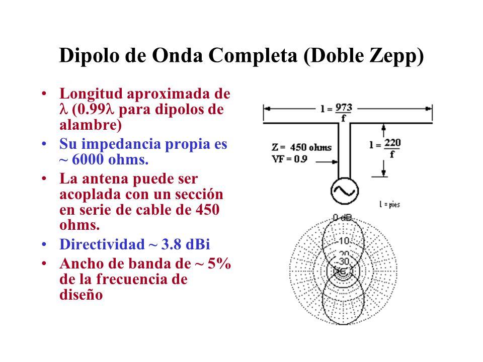 Dipolo de Onda Completa (Doble Zepp) Longitud aproximada de (0.99 para dipolos de alambre) Su impedancia propia es ~ 6000 ohms. La antena puede ser ac