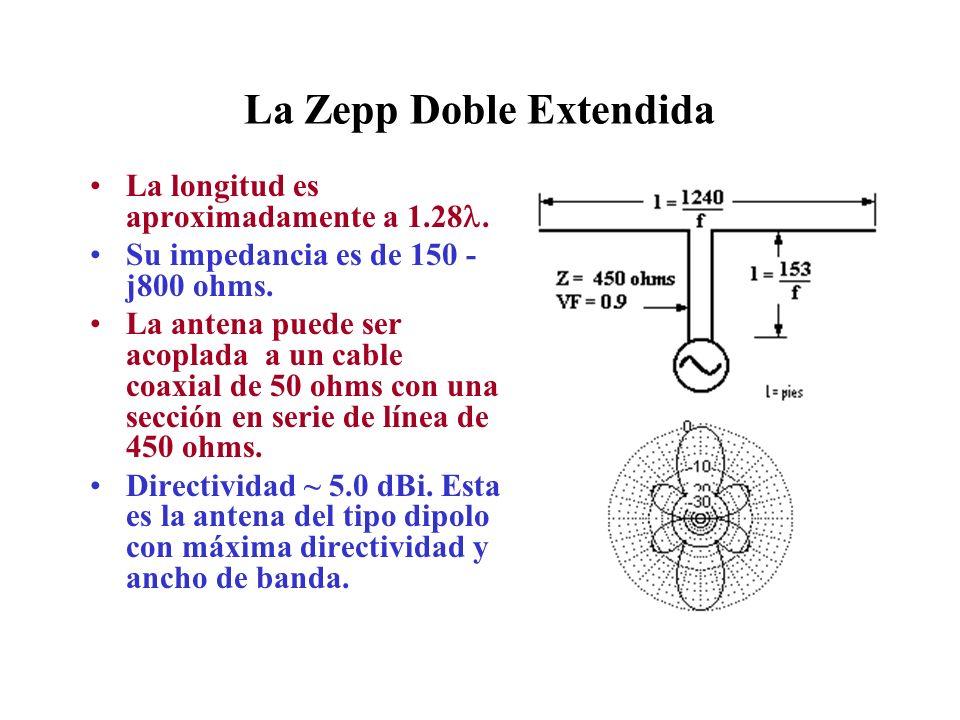 La Zepp Doble Extendida La longitud es aproximadamente a 1.28. Su impedancia es de 150 - j800 ohms. La antena puede ser acoplada a un cable coaxial de