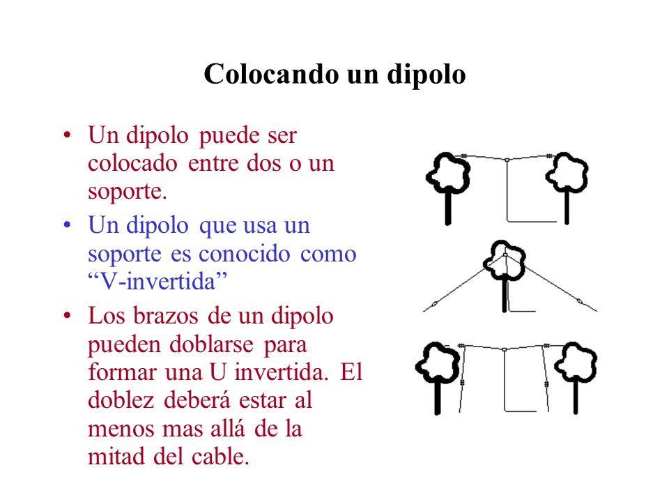 Colocando un dipolo Un dipolo puede ser colocado entre dos o un soporte. Un dipolo que usa un soporte es conocido como V-invertida Los brazos de un di