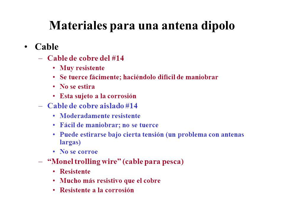 Materiales para una antena dipolo Cable –Cable de cobre del #14 Muy resistente Se tuerce fácimente; haciéndolo difícil de maniobrar No se estira Esta