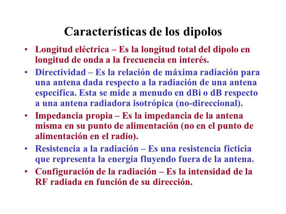 Características de los dipolos Longitud eléctrica – Es la longitud total del dipolo en longitud de onda a la frecuencia en interés. Directividad – Es