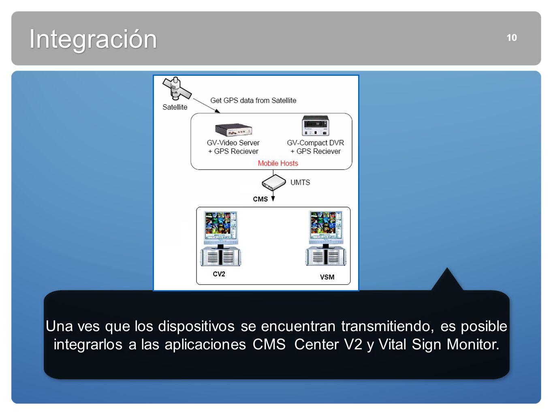 10 Integración Una ves que los dispositivos se encuentran transmitiendo, es posible integrarlos a las aplicaciones CMS Center V2 y Vital Sign Monitor.