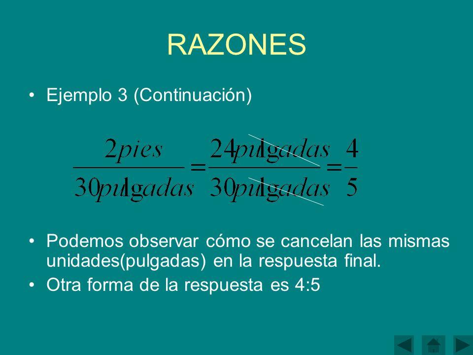 RAZONES Ejemplo 3 (Continuación) Podemos observar cómo se cancelan las mismas unidades(pulgadas) en la respuesta final.