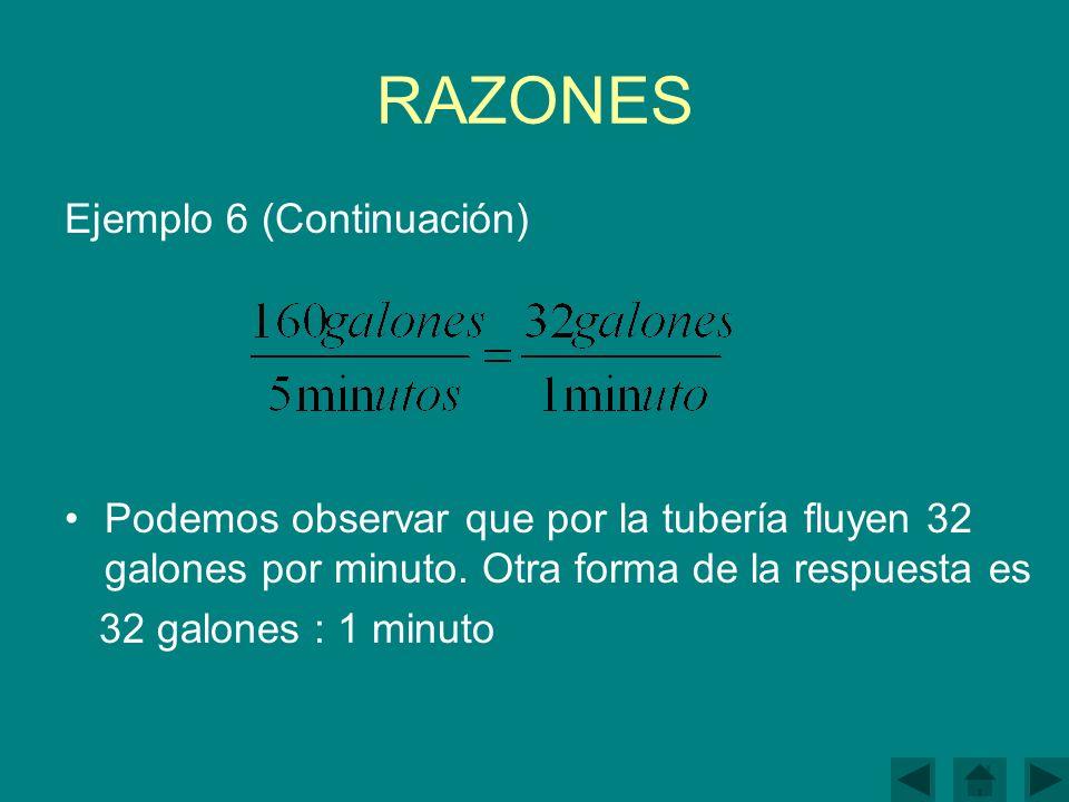 RAZONES Ejemplo 6 (Continuación) Podemos observar que por la tubería fluyen 32 galones por minuto.