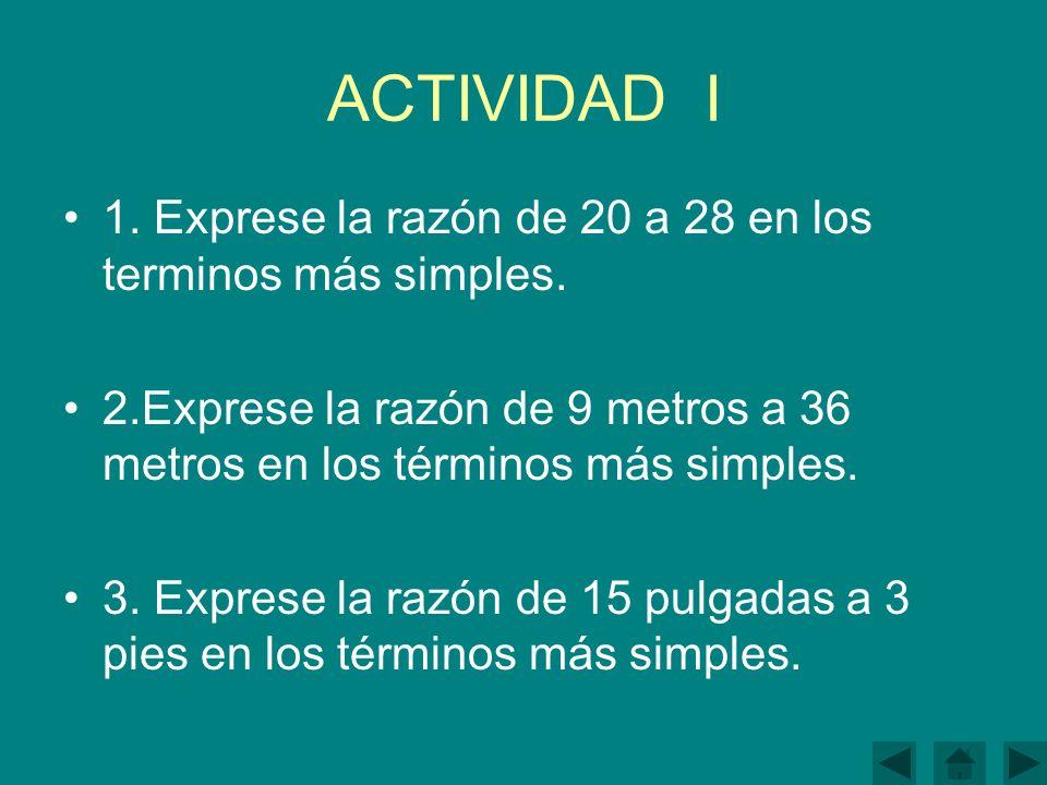 ACTIVIDAD I 1.Exprese la razón de 20 a 28 en los terminos más simples.
