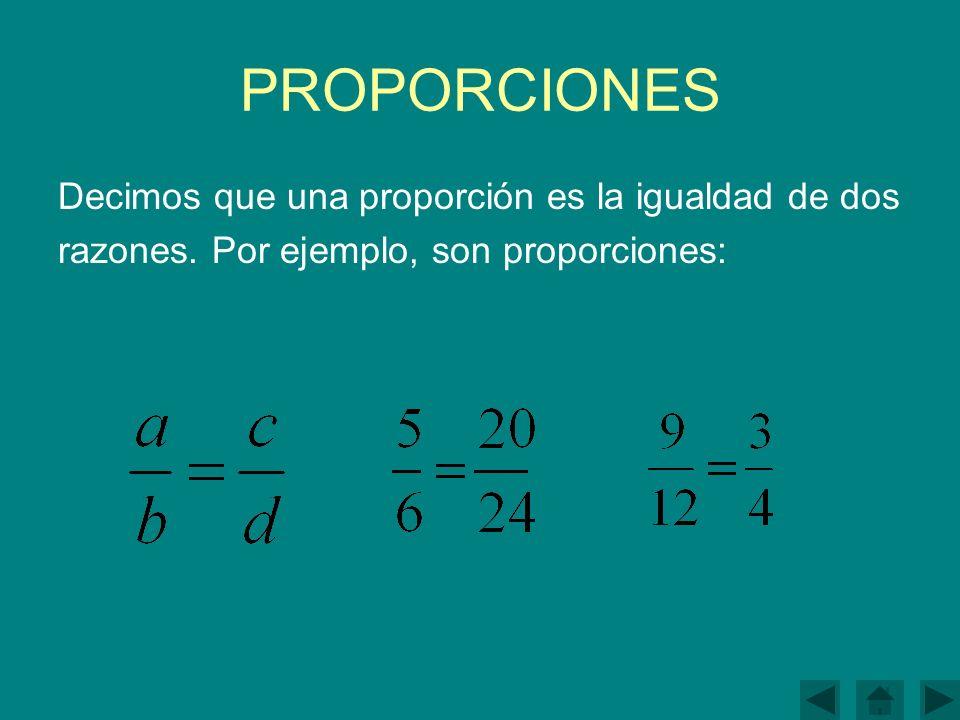 PROPORCIONES Decimos que una proporción es la igualdad de dos razones.