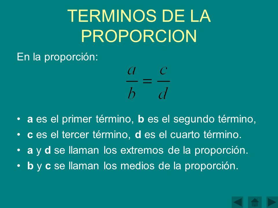 TERMINOS DE LA PROPORCION En la proporción: a es el primer término, b es el segundo término, c es el tercer término, d es el cuarto término.