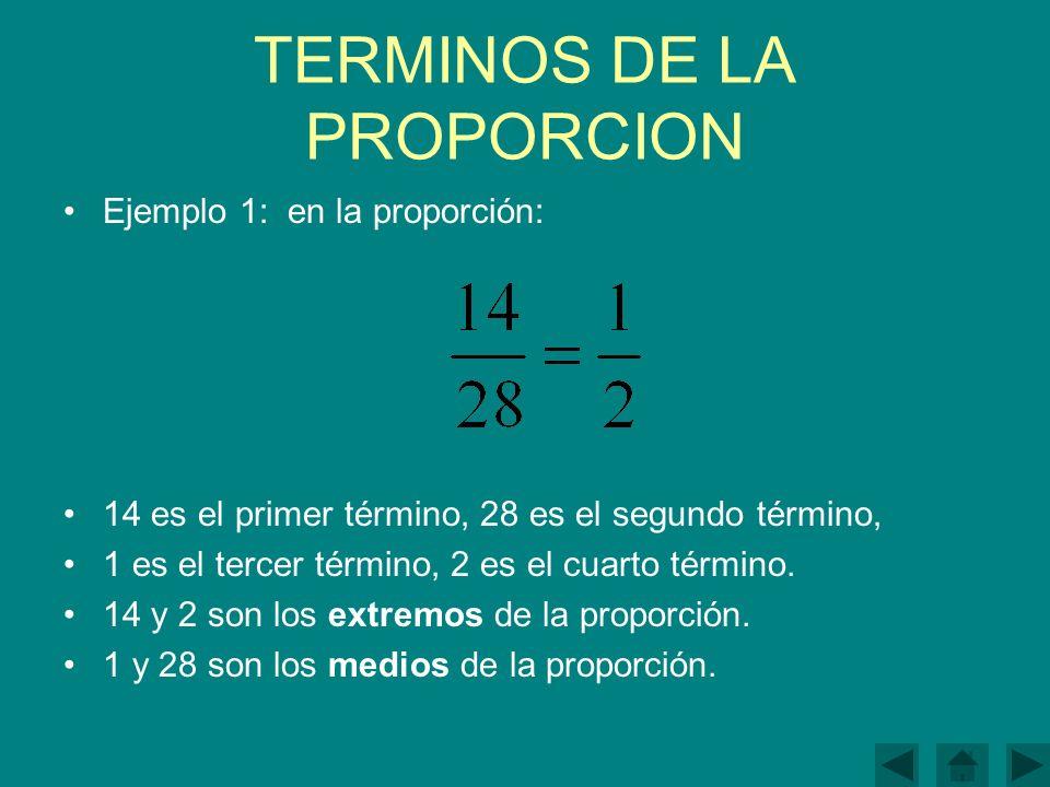TERMINOS DE LA PROPORCION Ejemplo 1: en la proporción: 14 es el primer término, 28 es el segundo término, 1 es el tercer término, 2 es el cuarto término.