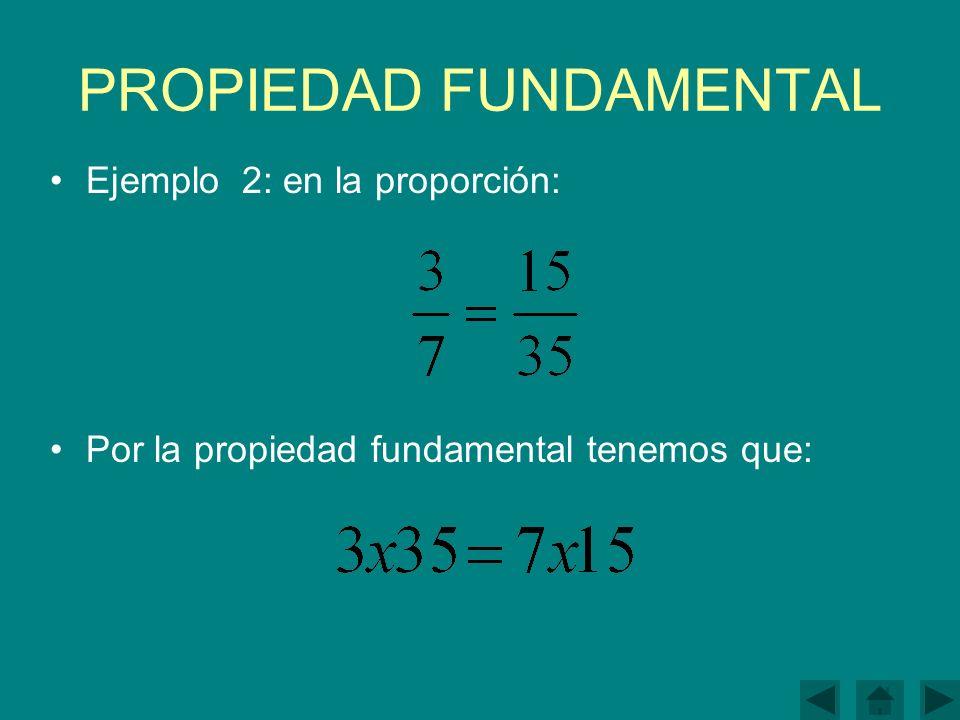 PROPIEDAD FUNDAMENTAL Ejemplo 2: en la proporción: Por la propiedad fundamental tenemos que: