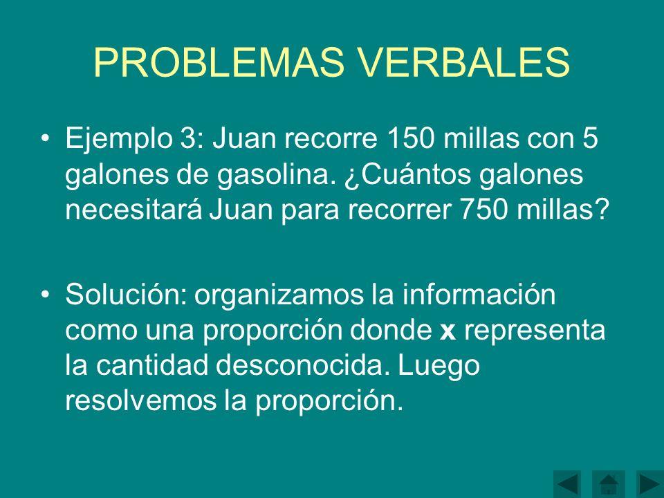 PROBLEMAS VERBALES Ejemplo 3: Juan recorre 150 millas con 5 galones de gasolina.