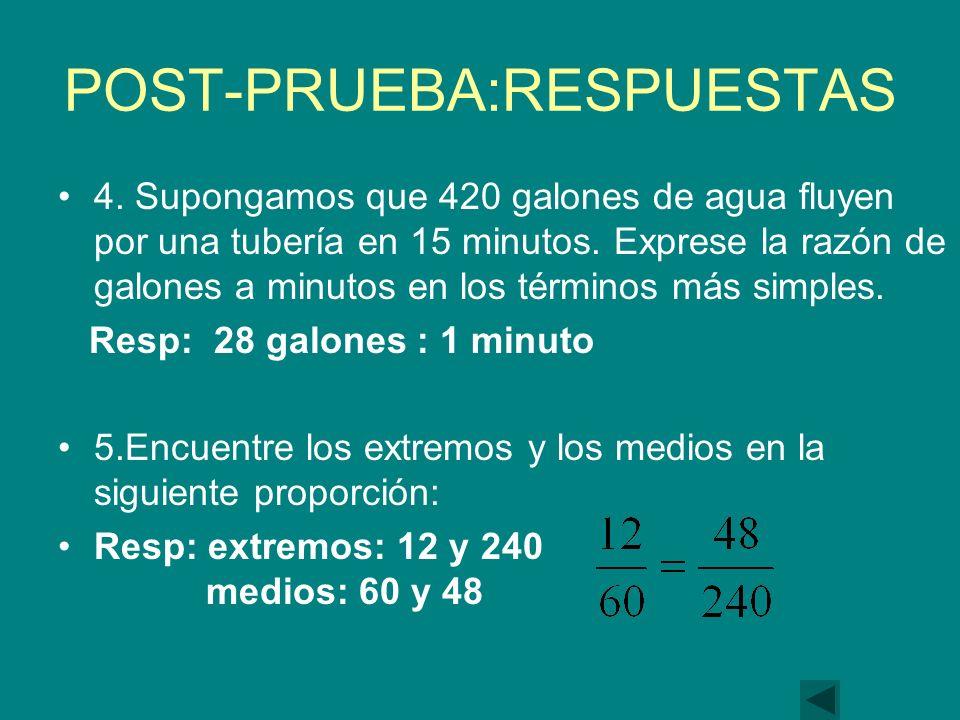 POST-PRUEBA:RESPUESTAS 4.Supongamos que 420 galones de agua fluyen por una tubería en 15 minutos.