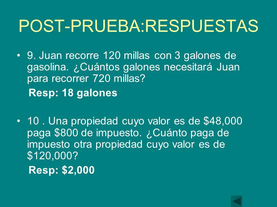 POST-PRUEBA:RESPUESTAS 9.Juan recorre 120 millas con 3 galones de gasolina.