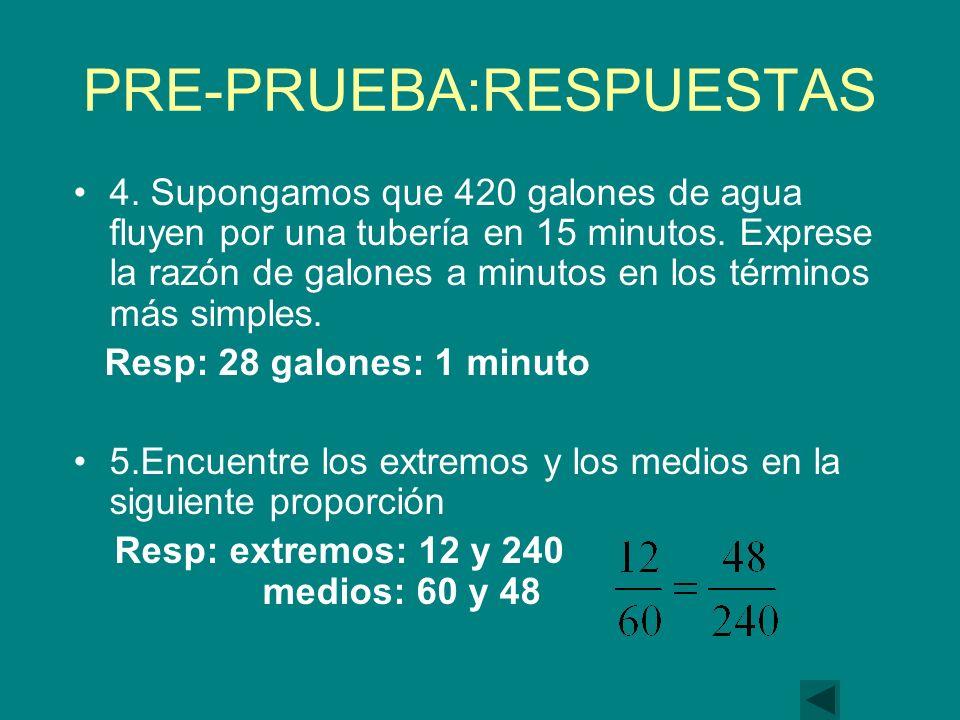 PRE-PRUEBA:RESPUESTAS 4.Supongamos que 420 galones de agua fluyen por una tubería en 15 minutos.