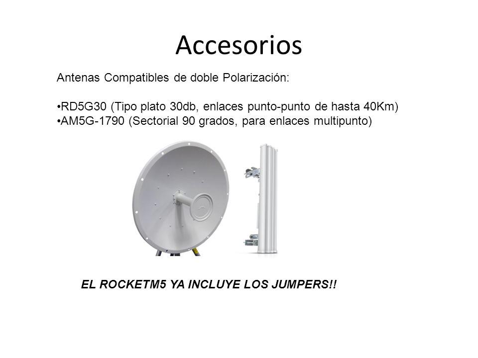Accesorios Antenas Compatibles de doble Polarización: RD5G30 (Tipo plato 30db, enlaces punto-punto de hasta 40Km) AM5G-1790 (Sectorial 90 grados, para