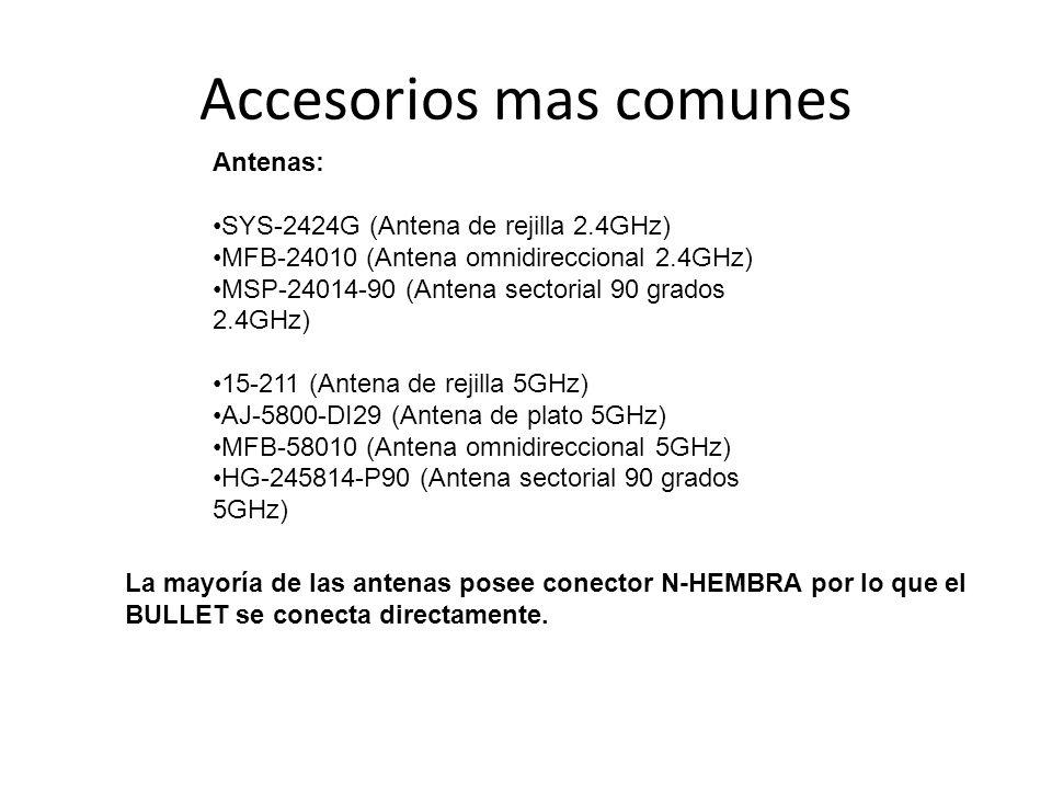 Accesorios mas comunes Antenas: SYS-2424G (Antena de rejilla 2.4GHz) MFB-24010 (Antena omnidireccional 2.4GHz) MSP-24014-90 (Antena sectorial 90 grado