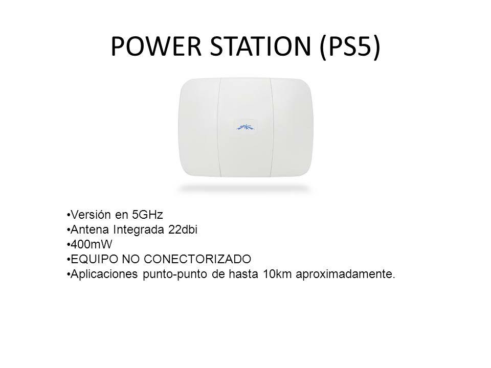 POWER STATION (PS5) Versión en 5GHz Antena Integrada 22dbi 400mW EQUIPO NO CONECTORIZADO Aplicaciones punto-punto de hasta 10km aproximadamente.