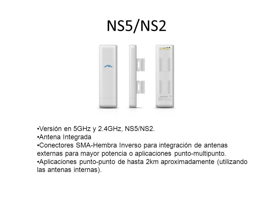 NS5/NS2 Versión en 5GHz y 2.4GHz, NS5/NS2. Antena Integrada Conectores SMA-Hembra Inverso para integración de antenas externas para mayor potencia o a