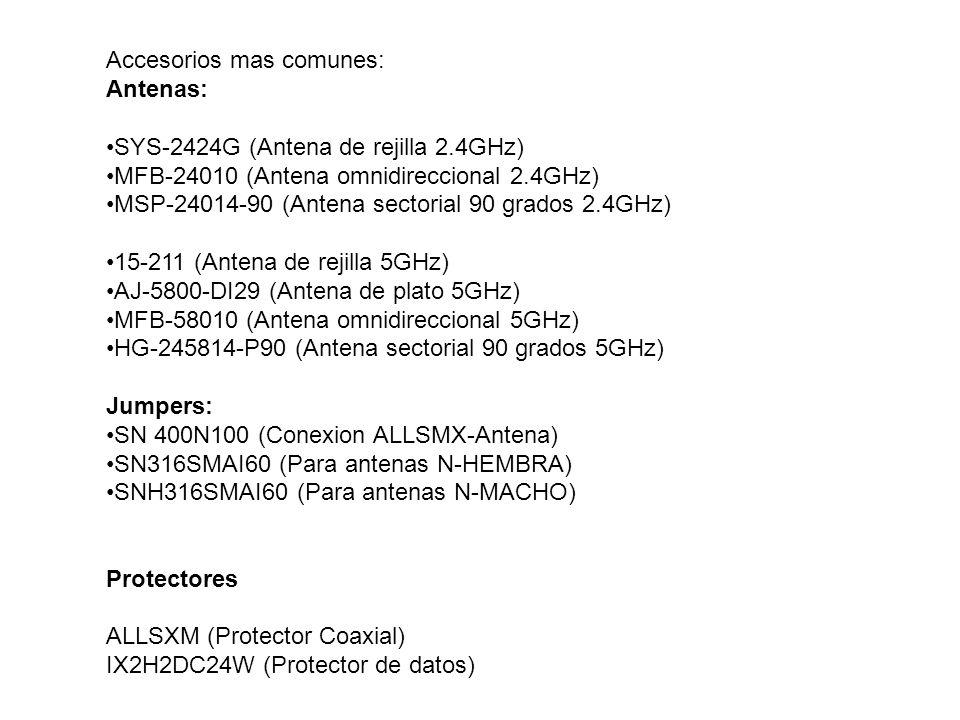 Accesorios mas comunes: Antenas: SYS-2424G (Antena de rejilla 2.4GHz) MFB-24010 (Antena omnidireccional 2.4GHz) MSP-24014-90 (Antena sectorial 90 grad