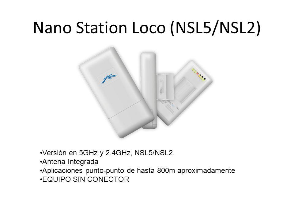Nano Station Loco (NSL5/NSL2) Versión en 5GHz y 2.4GHz, NSL5/NSL2. Antena Integrada Aplicaciones punto-punto de hasta 800m aproximadamente EQUIPO SIN