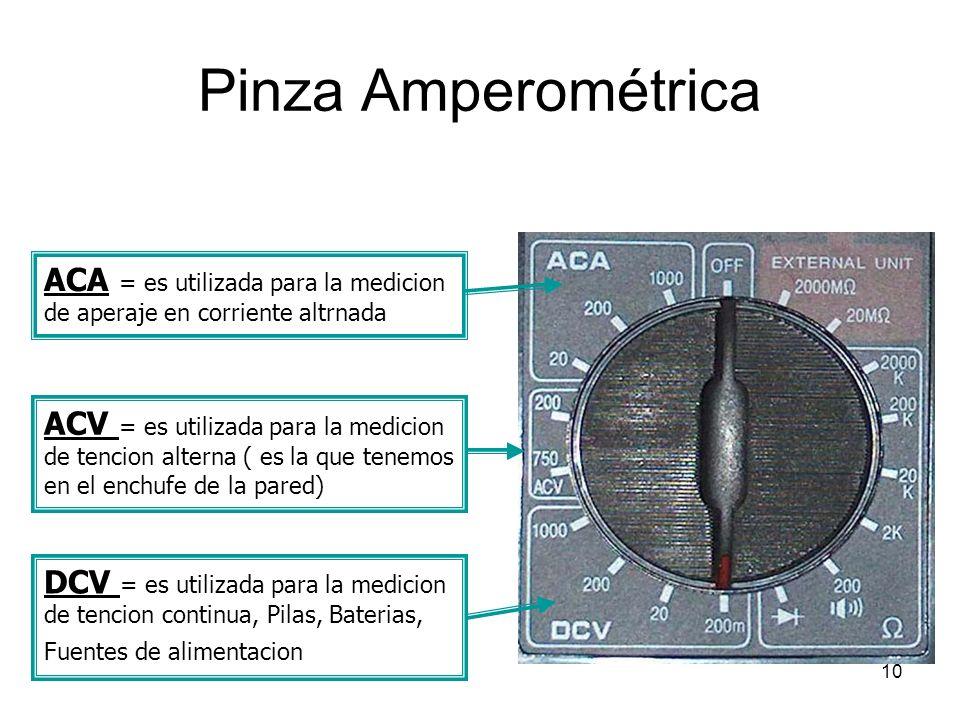10 Pinza Amperométrica ACA = es utilizada para la medicion de aperaje en corriente altrnada ACV = es utilizada para la medicion de tencion alterna ( e