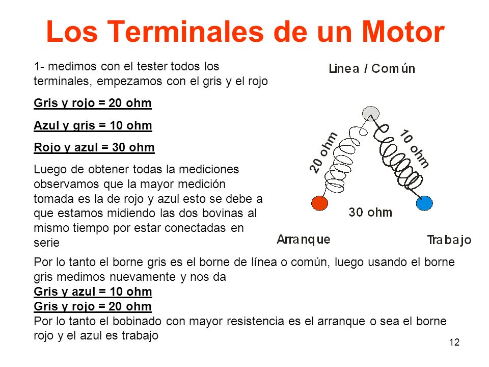 12 Los Terminales de un Motor 1- medimos con el tester todos los terminales, empezamos con el gris y el rojo Gris y rojo = 20 ohm Azul y gris = 10 ohm