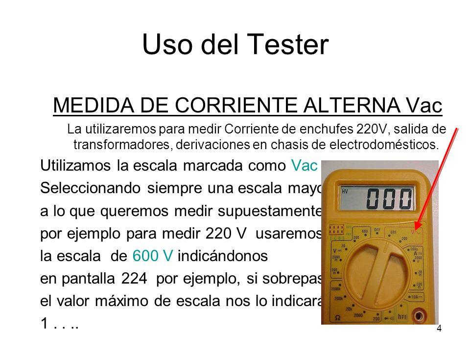 5 Uso del Tester MEDIDA DE CONTINUIDAD - DIODOS Es una de las escalas mas útiles, la utilizaremos para medir continuidad de cables, contactos interruptores cerrados y abiertos.