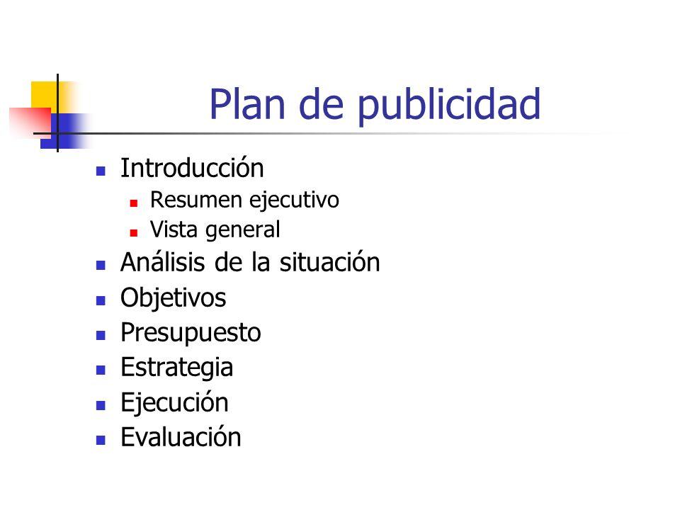 Plan de publicidad Introducción Resumen ejecutivo Vista general Análisis de la situación Objetivos Presupuesto Estrategia Ejecución Evaluación