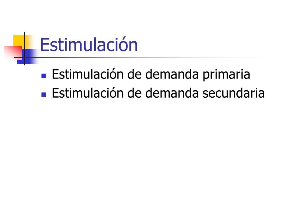 Estimulación Estimulación de demanda primaria Estimulación de demanda secundaria