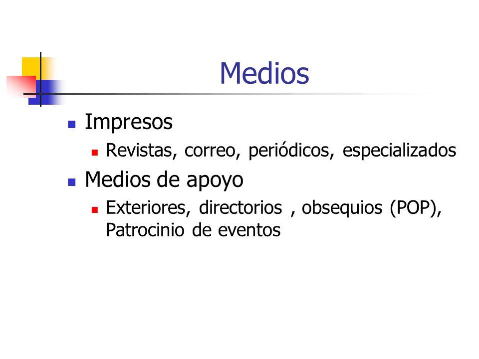 Medios Impresos Revistas, correo, periódicos, especializados Medios de apoyo Exteriores, directorios, obsequios (POP), Patrocinio de eventos