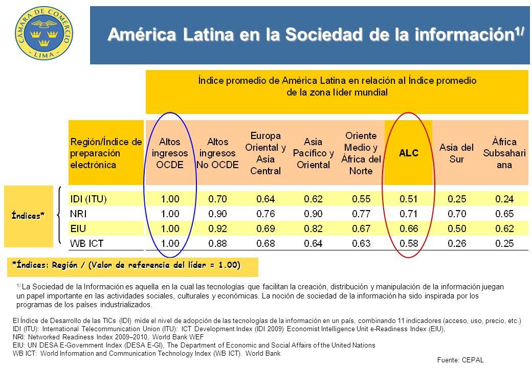 América Latina en la Sociedad de la información 1/ El Índice de Desarrollo de las TICs (IDI) mide el nivel de adopción de las tecnologías de la inform