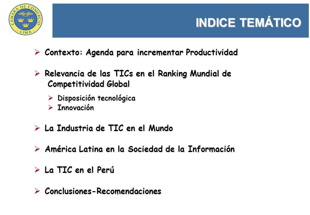 INDICE TEMÁTICO Contexto: Agenda para incrementar Productividad Contexto: Agenda para incrementar Productividad Relevancia de las TICs en el Ranking M