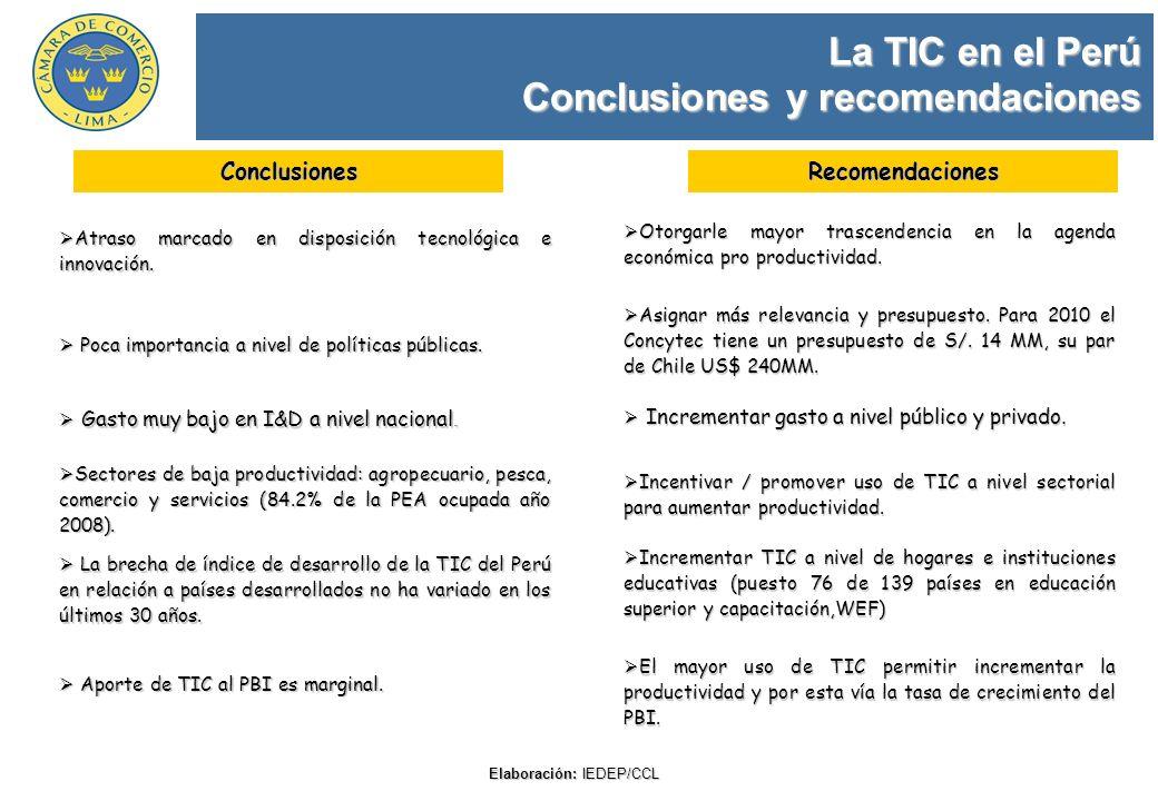 La TIC en el Perú Conclusiones y recomendaciones Elaboración: IEDEP/CCL Atraso marcado en disposición tecnológica e innovación. Atraso marcado en disp