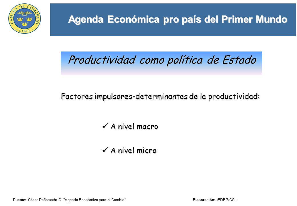Agenda Económica pro país del Primer Mundo Fuente: César Peñaranda C.