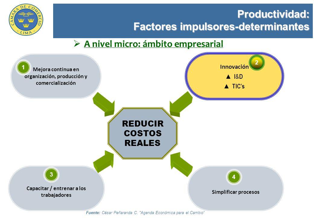 Productividad: Factores impulsores-determinantes Mejora continua en organización, producción y comercialización Innovación I & D TICs Simplificar proc