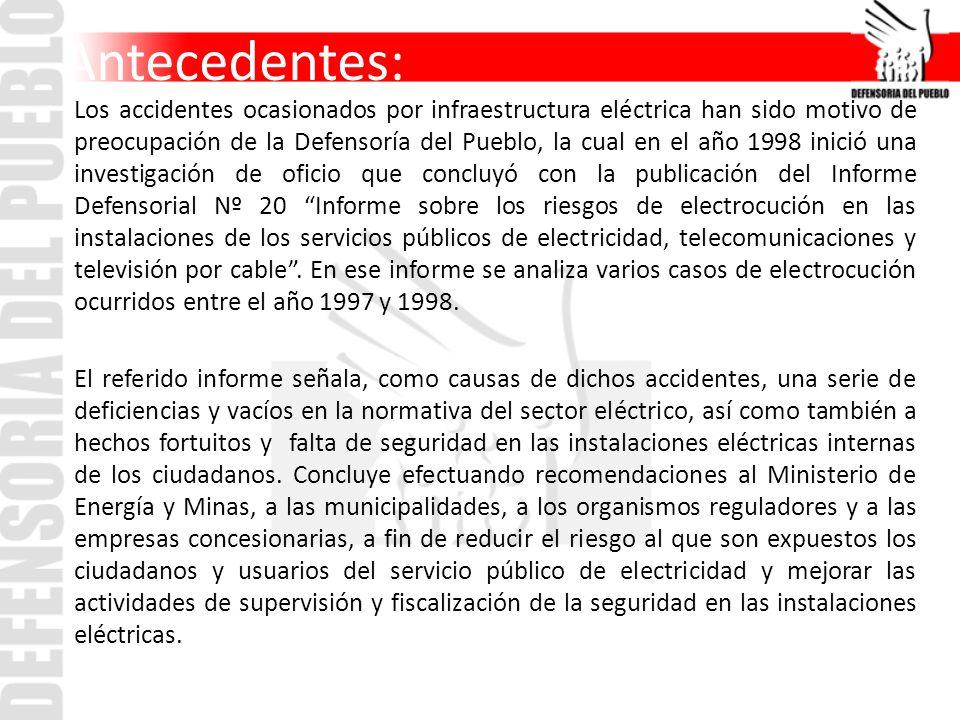 Antecedentes: Los accidentes ocasionados por infraestructura eléctrica han sido motivo de preocupación de la Defensoría del Pueblo, la cual en el año