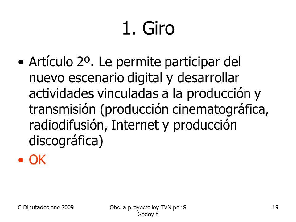 C Diputados ene 2009Obs. a proyecto ley TVN por S Godoy E 19 1.