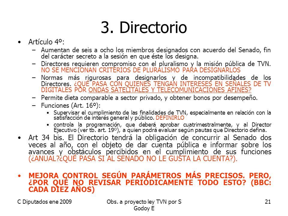 C Diputados ene 2009Obs. a proyecto ley TVN por S Godoy E 21 3.