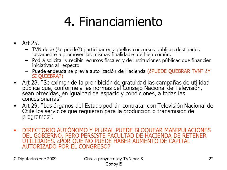 C Diputados ene 2009Obs. a proyecto ley TVN por S Godoy E 22 4.