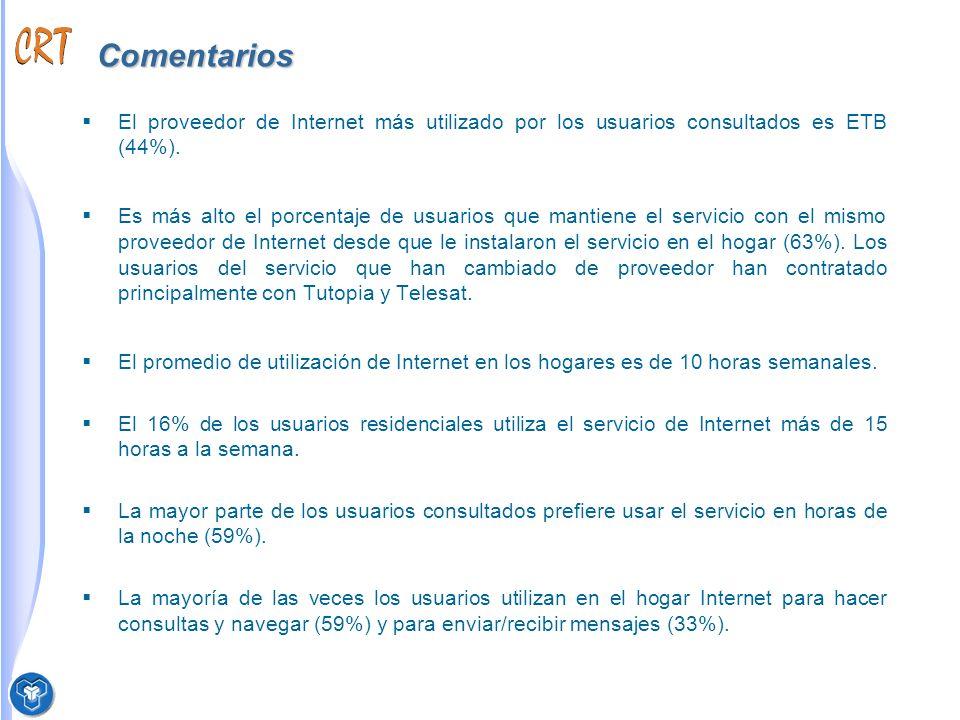 Comentarios El proveedor de Internet más utilizado por los usuarios consultados es ETB (44%).