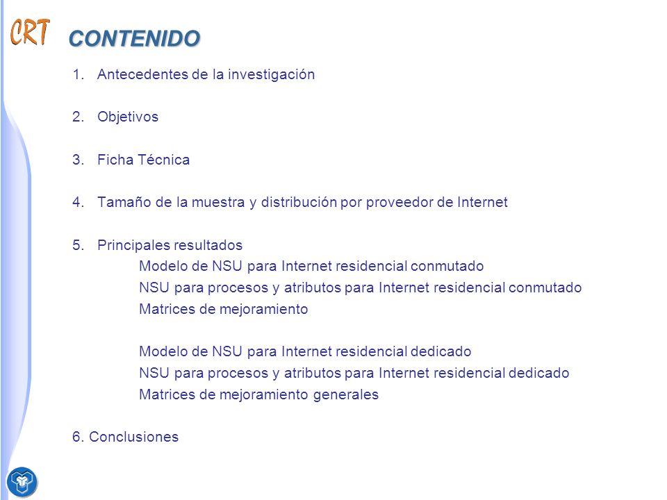 ANTECEDENTES La CRT contrató durante el año 2003 la elaboración de la herramienta y metodología de medición del NSU del servicio de Internet, así como la primera medición.