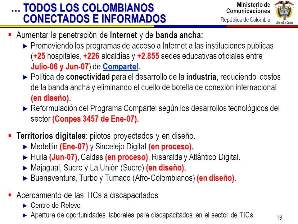 Ministerio de Comunicaciones República de Colombia Ministerio de Comunicaciones República de Colombia 19 Aumentar la penetración de Internet y de band