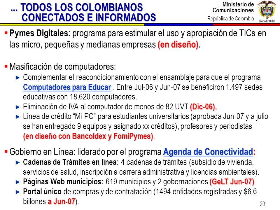 Ministerio de Comunicaciones República de Colombia Ministerio de Comunicaciones República de Colombia 20 (en diseño) Pymes Digitales : programa para e