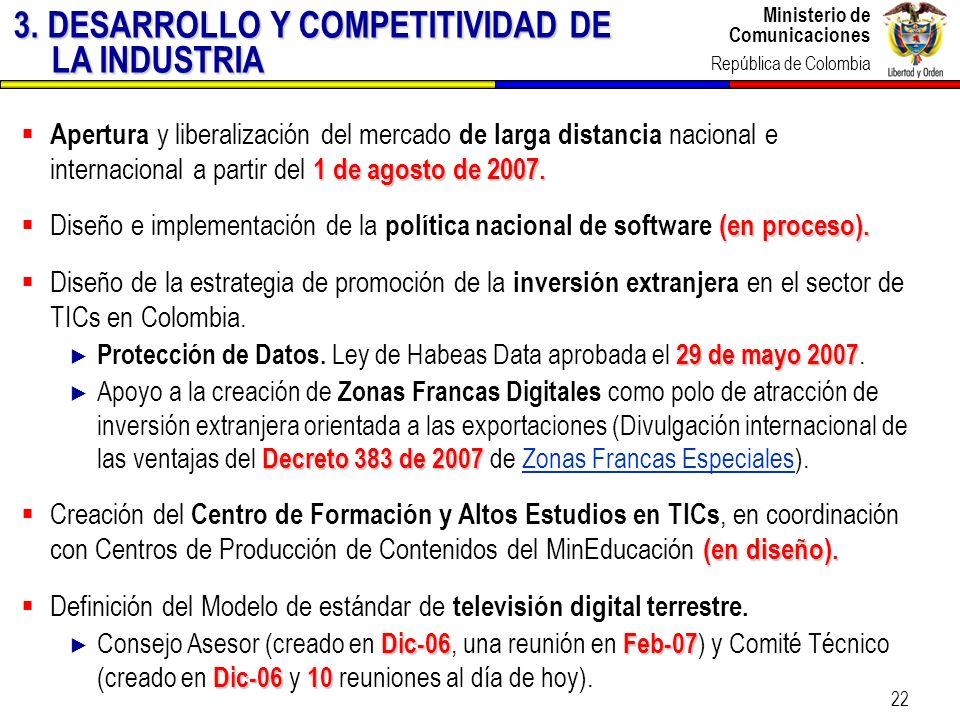 Ministerio de Comunicaciones República de Colombia Ministerio de Comunicaciones República de Colombia 22 1 de agosto de 2007. Apertura y liberalizació