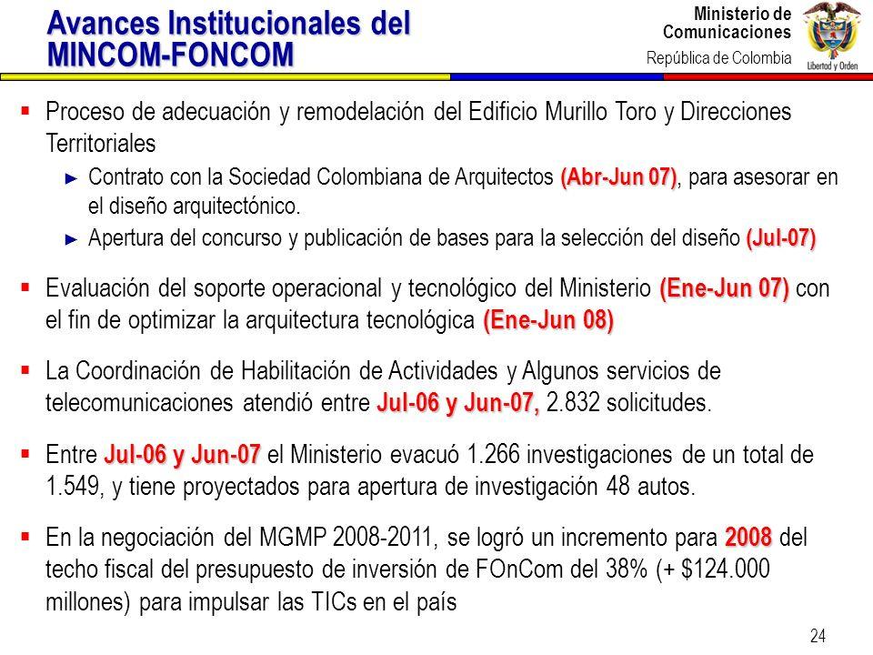 Ministerio de Comunicaciones República de Colombia Ministerio de Comunicaciones República de Colombia 24 Proceso de adecuación y remodelación del Edif